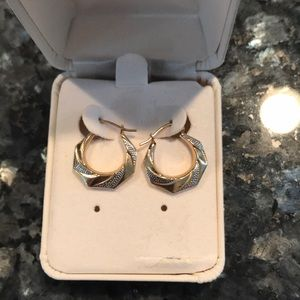 14KT Hoop Earrings with Silver detail